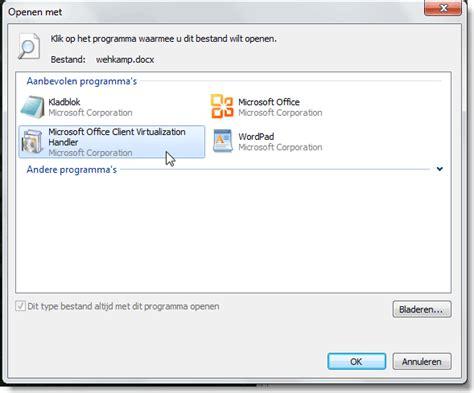 Microsoft Office Client Virtualization Handler office 2010 starter geeft problemen met documenten na