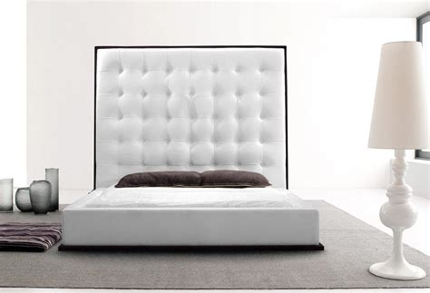 White Leather Bed With High Headboard And Wood Grain Trim Bed Headboard