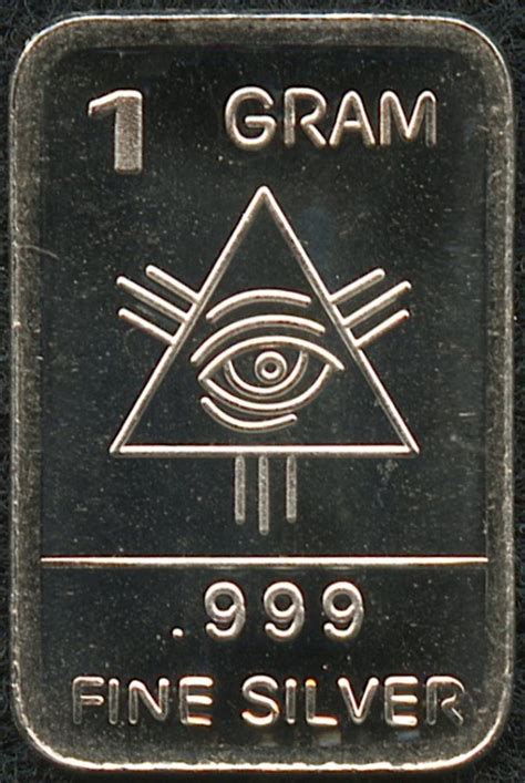 1 Gram 999 Silver Bar by 1 Gram 999 Silver Illuminati Bullion Bar
