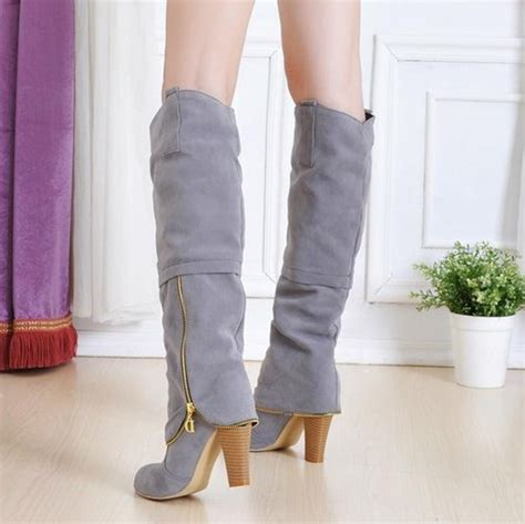 winter toe chains chunky high heel grey suede knee