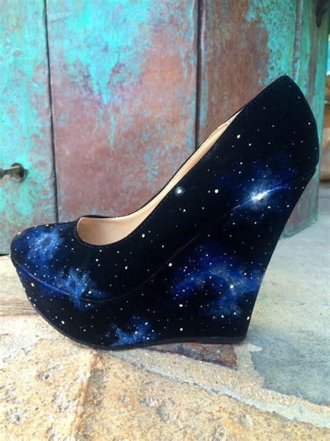 custom painted galaxy space heels by lanchensdesigns on etsy