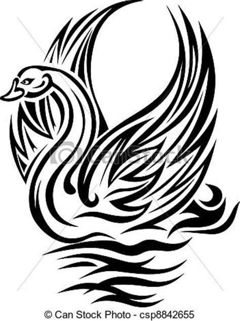 vecteur clipart de cygne oiseau dans retro style