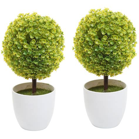 Topiary Flower 2 set of 2 artificial faux potted tabletop yellow flower plant topiary w white pl