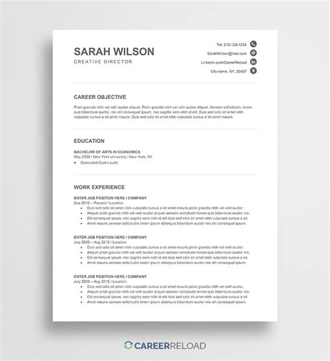 Free Resume Template For Word by Free Word Resume Templates Free Microsoft Word Cv Templates