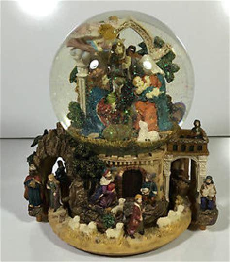 large snow globes christmas vintage nativity snow globe box plays noel large works ebay