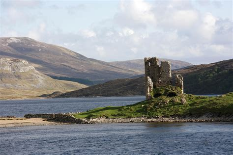 In Scotland the ruins of ardvreck castle on loch assynt the