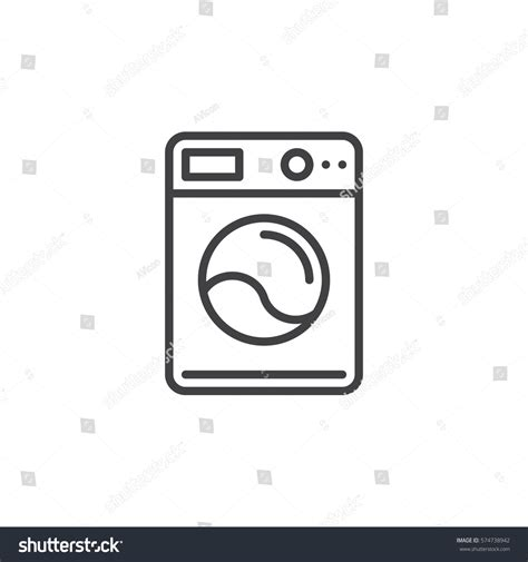 Washing Line Outline by Washing Machine Line Icon Outline Vector Stock Vector 574738942
