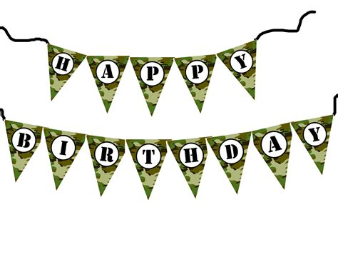 Printable Camo Birthday Banner | diy army military camouflage birthday banner printable file