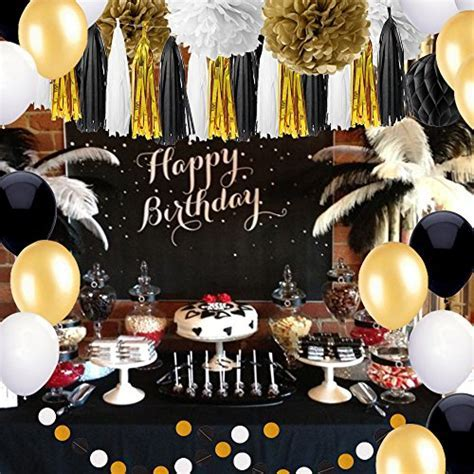 SIMPZIA 86 pcs Black and Gold Party Decorations Kit