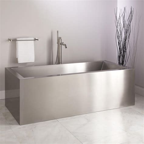 stainless steel bathroom 72 quot ultro brushed stainless steel freestanding tub bathroom