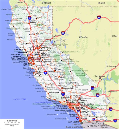 map of california usa with cities map of california