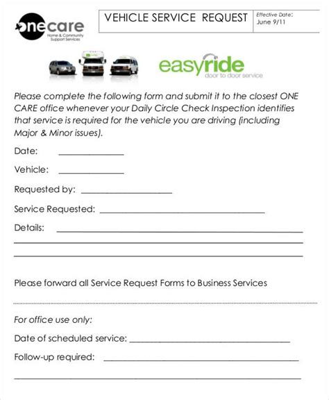Request Letter Service Vehicle Service Form Template