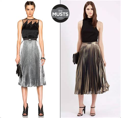 8 Ways To Wear Metallics by Five Ways To Wear The Coveted Metallic Pleated Skirt For