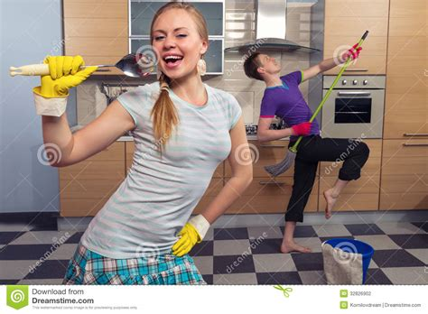 Fast Food Kitchen Design Funny Couple On Kitchen Stock Photography Image 32826902