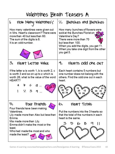 riddles for valentines day 4 learning s day math freebies