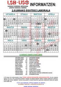 Calendario Laboral Guipuzcoa 2018 Calendario Laboral Lsb Uso Langile Sindikal Batasuna