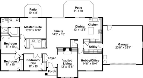 4 bedroom ranch style house plans ranch style house plans 2086 square foot home 1 story 4 bedroom and 2 bath 2 garage stalls