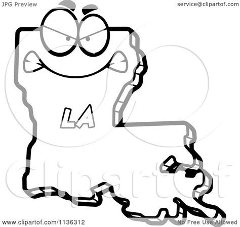 cartoon clipart of an outlined mad louisiana state