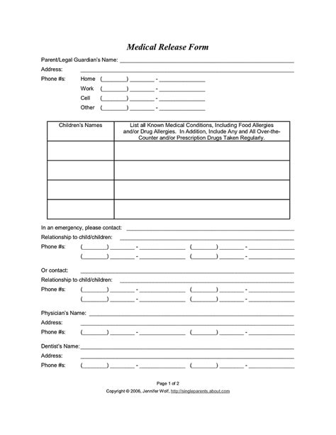 medical release form release form for consent to treat your