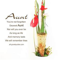 memorial cards for aunt you re not forgotten dearest aunt
