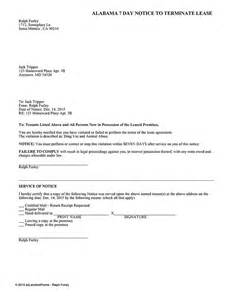 Lease Notice Alabama 7 Day Notice To Terminate The Lease Ez Landlord Forms