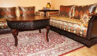 decoration bois salon marocain