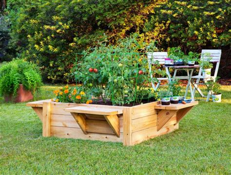 raised garden bed with bench seating raised bed in the garden a beautiful idea how you the
