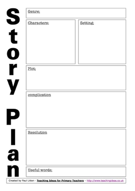 story plans worksheets teaching ideas