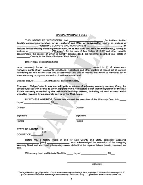 special warranty deed special warranty deedindiana forms