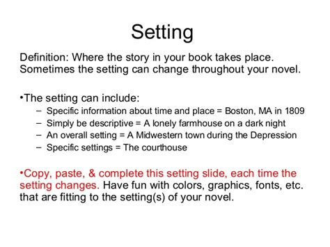a setter definition fiction book project presentation template