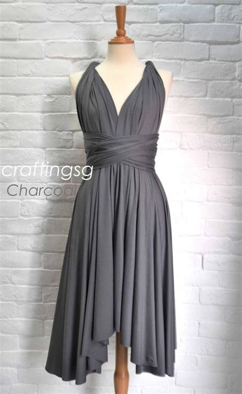 gray infinity dress bridesmaid dress infinity dress charcoal grey knee length