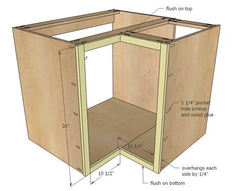Building Simple Cabinet Doors White Build A 36 Quot Corner Base Easy Reach Kitchen Cabinet Basic Model Free And Easy Diy