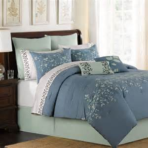 lake blue oversize king 8 comforter bed in a