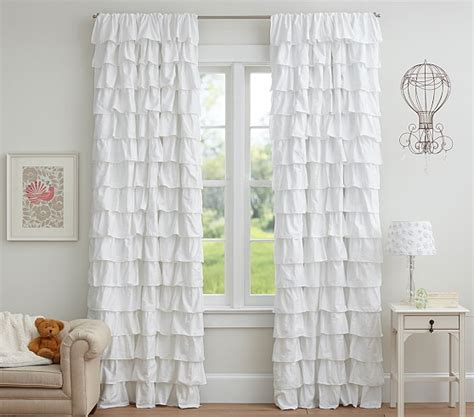 White Ruffled Curtains For Nursery Ruffle Blackout Panel Pottery Barn