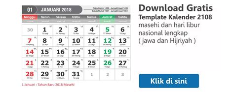Kalender 2018 Indonesia Hijriyah Kalender 2018 Dan Tanggalan Hijriyah Jawa Lengkap