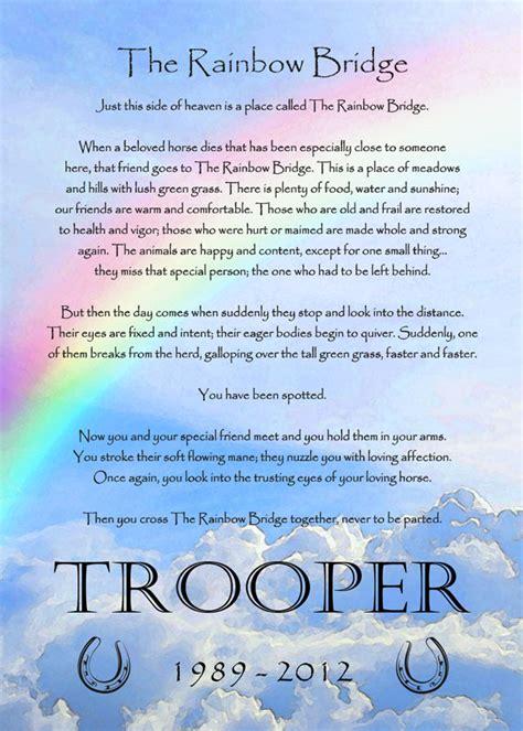 printable version of the rainbow bridge poem rainbow bridge poem horse memorial frame
