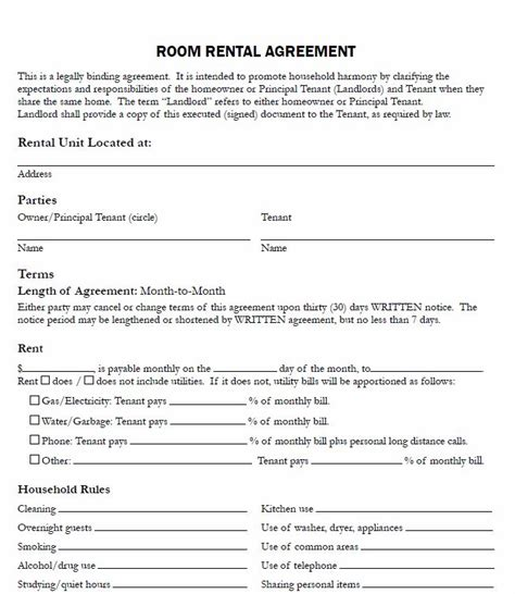 rent a room tenancy agreement template 10 best images about printable agreements on