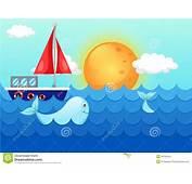 La Mer De Paysage Ondule Avec Baleine Et Le Bateau