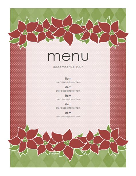 holiday menu template free menu templates ms office