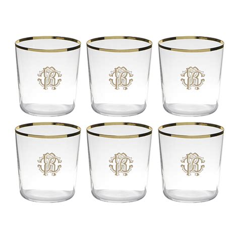 monogrammed barware glasses buy roberto cavalli monogram old fashion glasses set of