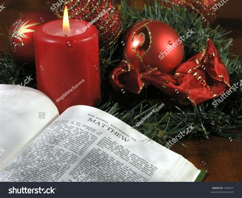 the truth about christmas decorations with bible verses open bible decorations stock photo 1669371