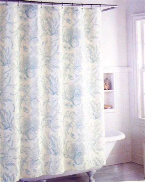 Coastal Collection Fabric Shower Curtain Shells Floral