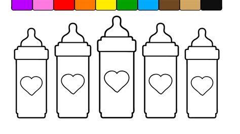 coloring page baby bottle learn colors for kids and color this tall heart baby