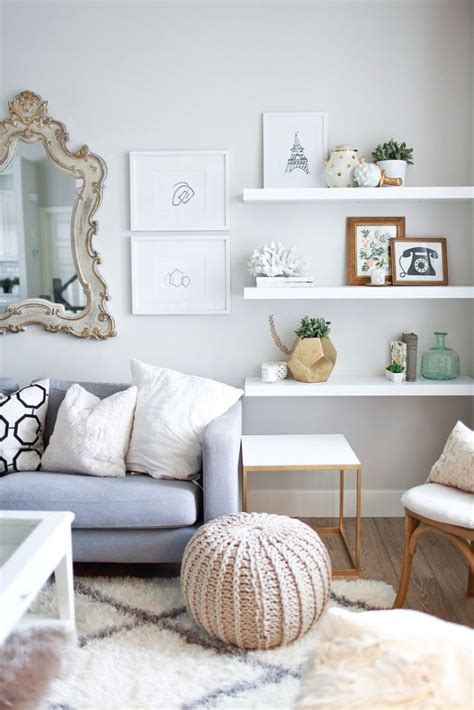 floating white shelves for living room home decorating