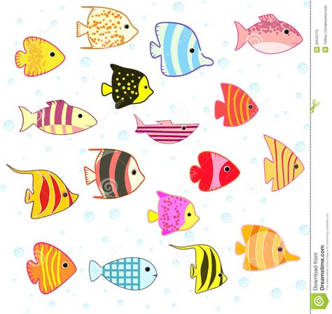 Tropical House Plans by Cartoon Tropical Fish Set Royalty Free Stock Photo Image