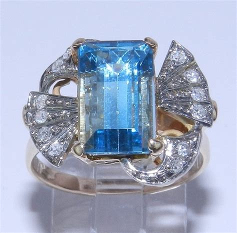 antique vintage 14k gold aquamarine ring by
