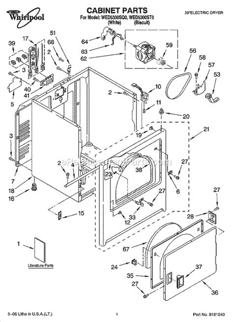 whirlpool wed5300sq0 parts list and diagram