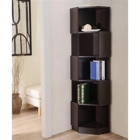 Corner Bookshelf Furniture Of America Laina Geometric Espresso 5 Shelf