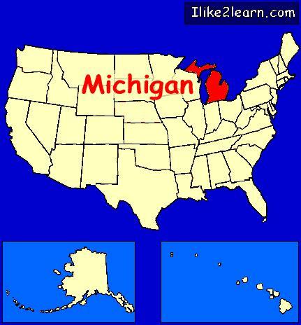map of usa showing michigan state michigan