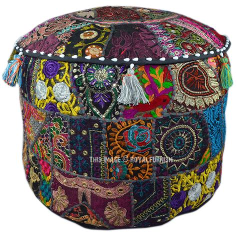 indian ottoman pouf multicolor bohemian patchwork embroidered indian
